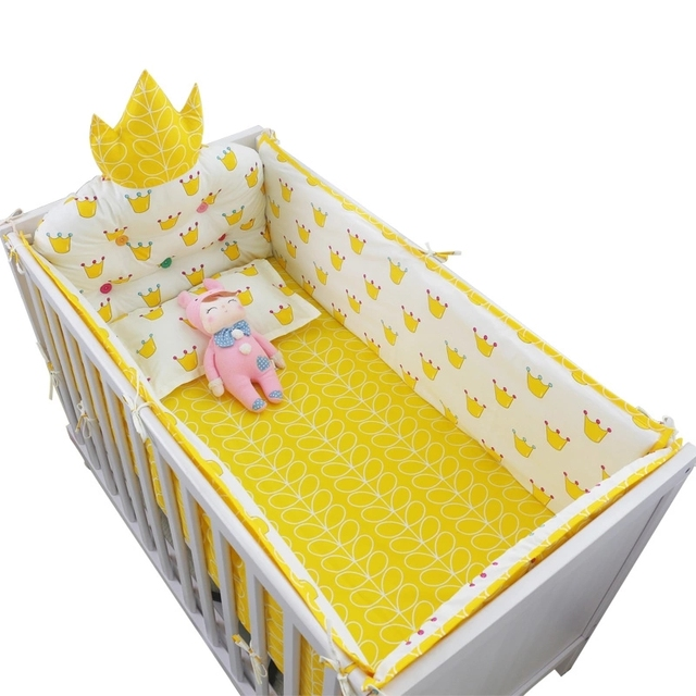 5pcs/set Luxury Crown Headrest Crib Around Bumpers Hot Baby Bedding Set Muslin Cotton Baby Cot Set Include Bed Bumper Sheet