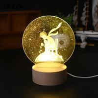 Exquisite Little Prince Modeling Lamp Warm White Bedroom 110V Night Light New Year Party Decoration Drop