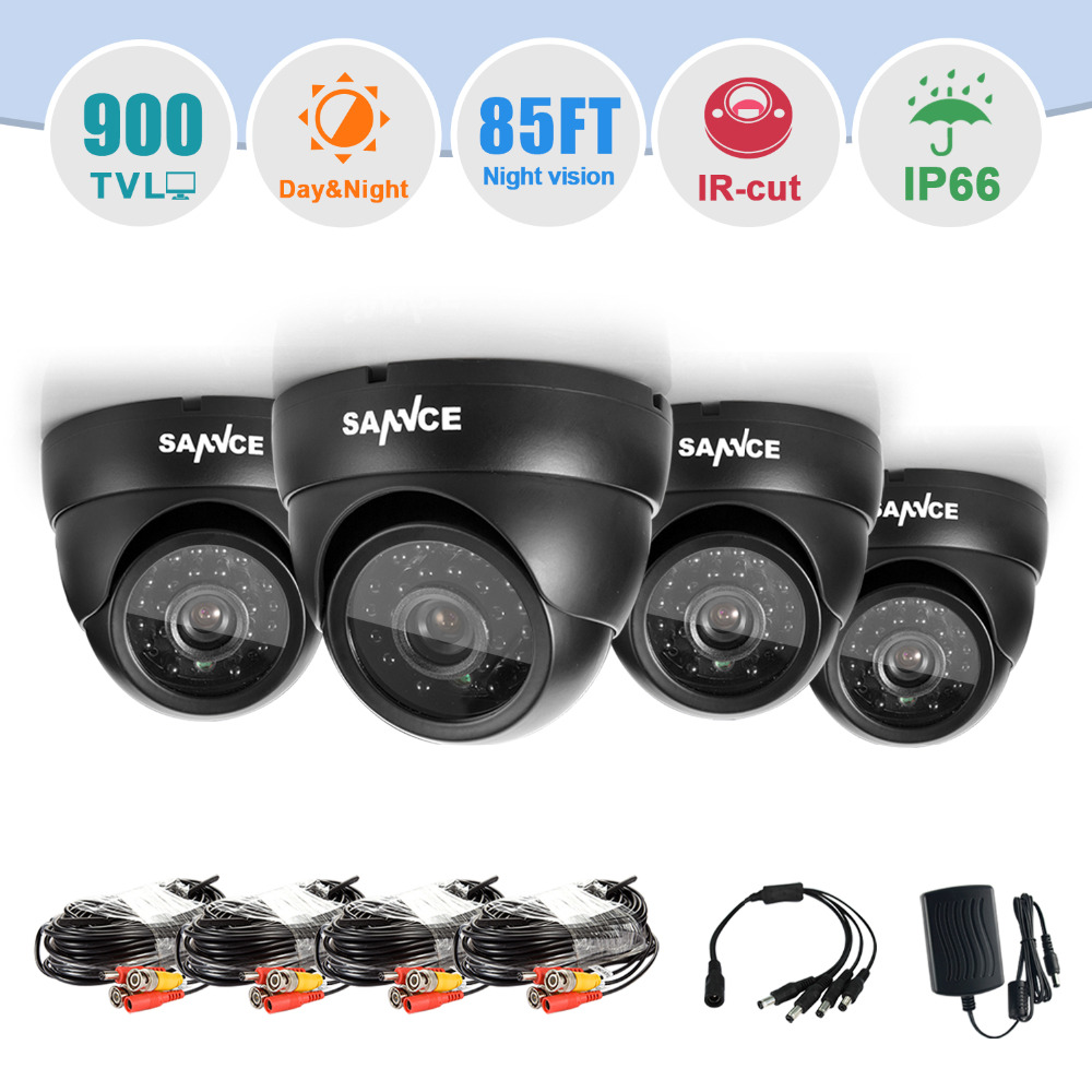 SANNCE 4PCS Dome 800TVL Indoor Outdoor IR font b Camera b font Security Surveillance System