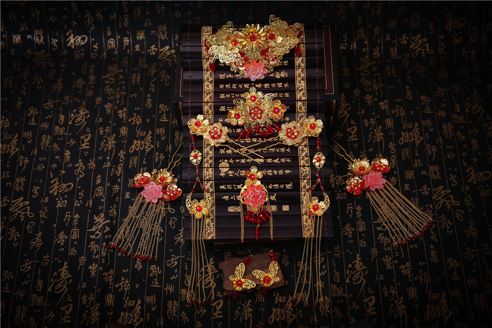 Ancienne traditionnelle chinoise Mariage Mariée Bijoux Cheveux Peigne Stick Boucle d/'oreille