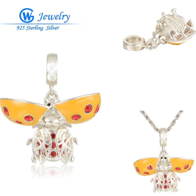Amazing Be Opened Beetle Charms European Silver Enamel Animal Pendants Fits For European Bracelets & Necklace GW Fashion Jewelry