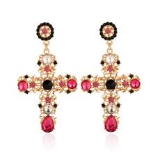 Vintage Crystal Cross cross earrings big For Women Bohemian Large statement Brincos trendy Wedding