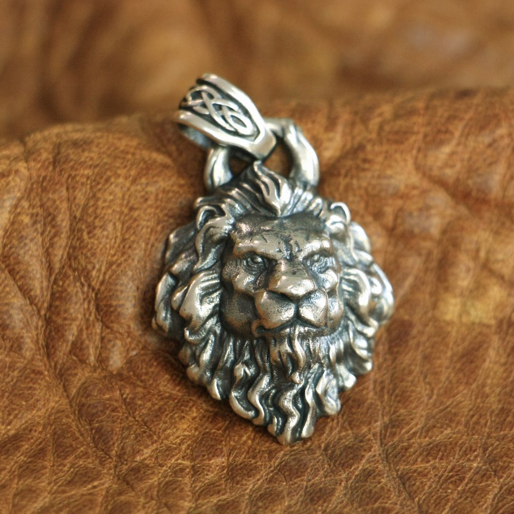LINSION High Details 925 Sterling Silver King of Lion Pendant Mens Biker Pendant TA112 JP vixen return of lion