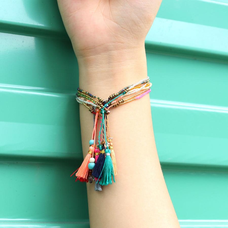 KELITCH 10Pcs Multicolor tassel Seed Beaded Bracelets Handmade Friendship Bracelets Bohemia Strand Bradelet For gifts 7