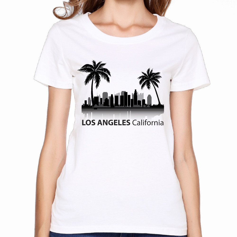 2017 california los angeles printing women premium cotton t shirts lovely comic design fitness hip hop