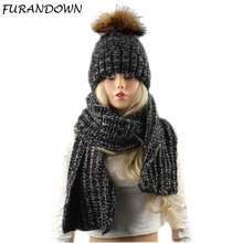 2 Pieces Set Women Winter Hat With Scarf Real Raccoon Fur Pom Pom Beanies For Ladies Winter Cap Women Knitted Hat and Scarf Set