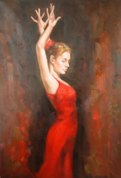 Wholesale Price Artist Hand-painted Dancer Portrait Oil Painting on Canvas Beautiful Lady Dancer Oil Painting for Living Room