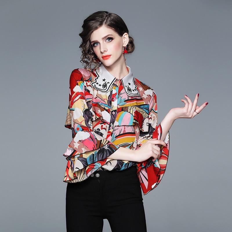 3cd3d12798c Топ бренд Модные женские туфли блузки для малышек и рубашки мальчиков 2019  весенние дизайнерские Flare рукавом характер печати шифоновая рубаш.