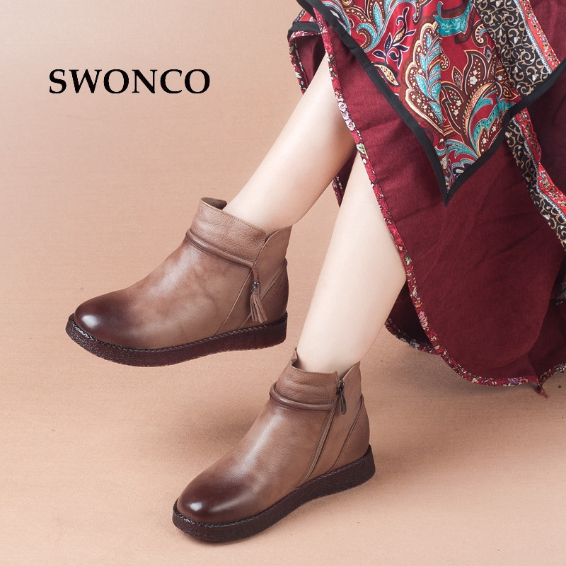 SWONCO Cow Leather Women Winter Boots Warm Plush Flats Mother Shoes Ankle Boots For Women Genuine Leather 2018 Woman Shoes Boot timetang casual cow leather women shoes keep warm cotton shoes woman shallow female flats fur loafers plush winter mother c281