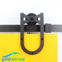 4.9FT/6FT/6.6FT horseshoe style unique rouleau en acier au carbone grange coulissante en bois portes matériel piste