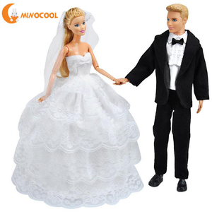 DIY Toys Doll Wedding Gown Dress Clothes + Formal Suit Outfit For Barbie Ken Doll(China)