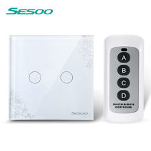 SESOO EU/UK  2 gangs 1 way remote control touch switch remote wall lamp switch crystal lace of toughened glass