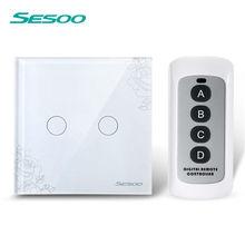 Sesoo ЕС/UK 2 банды 1 способ дистанционного управления Сенсорный выключатель дистанционного настенный светильник переключатель Кристалл Кружева из закаленного стекла