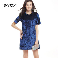 купить 2019 New Summer Fashion Women Swan Silk Velvet Loose Round Neck Short Sleeve Dress дешево