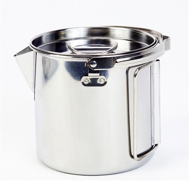 1.2L Portable Outdoor Stainless Steel Kettles Boil Water Hanging Pot Hot Soup Coffee Tableware For Mountaineering Camping 0.2