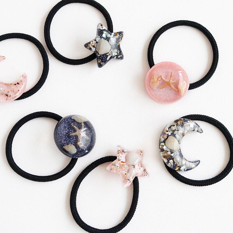 NEW Women Headwear Ocean Hair Accessories Starfish Moon Shiny Starry Hair Bands Header Elastic Hair Rubber Bands Gum For Hair