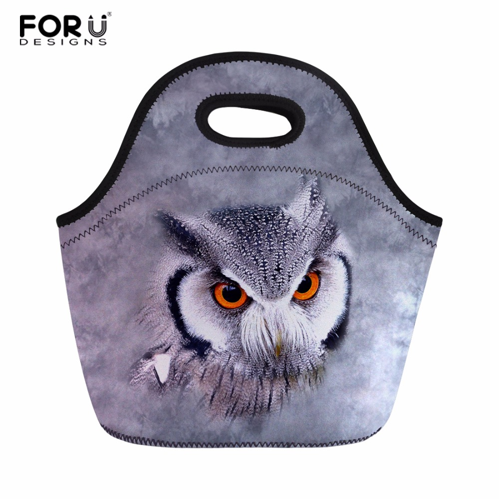 FORUDESIGNS Polyester Insulated Thermal Lunch Bag Owl Printed Women Meal Handbag Office Lunch Box Tote for Women Kids Keep Warm
