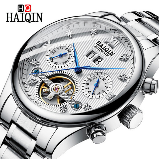 2019 HAIQIN Automatic Mechanical Men Watches Bussiness Watch For Men Full Steel Military Waterproof Wind Tourbillon