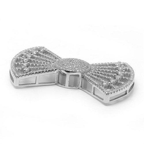 27.3x40.2mm Zircon Micro Pave Bowknot 925 connecteur en argent Sterling pour bricolage perle bijoux pendentif à breloque SLJQ-CZ026 - 2