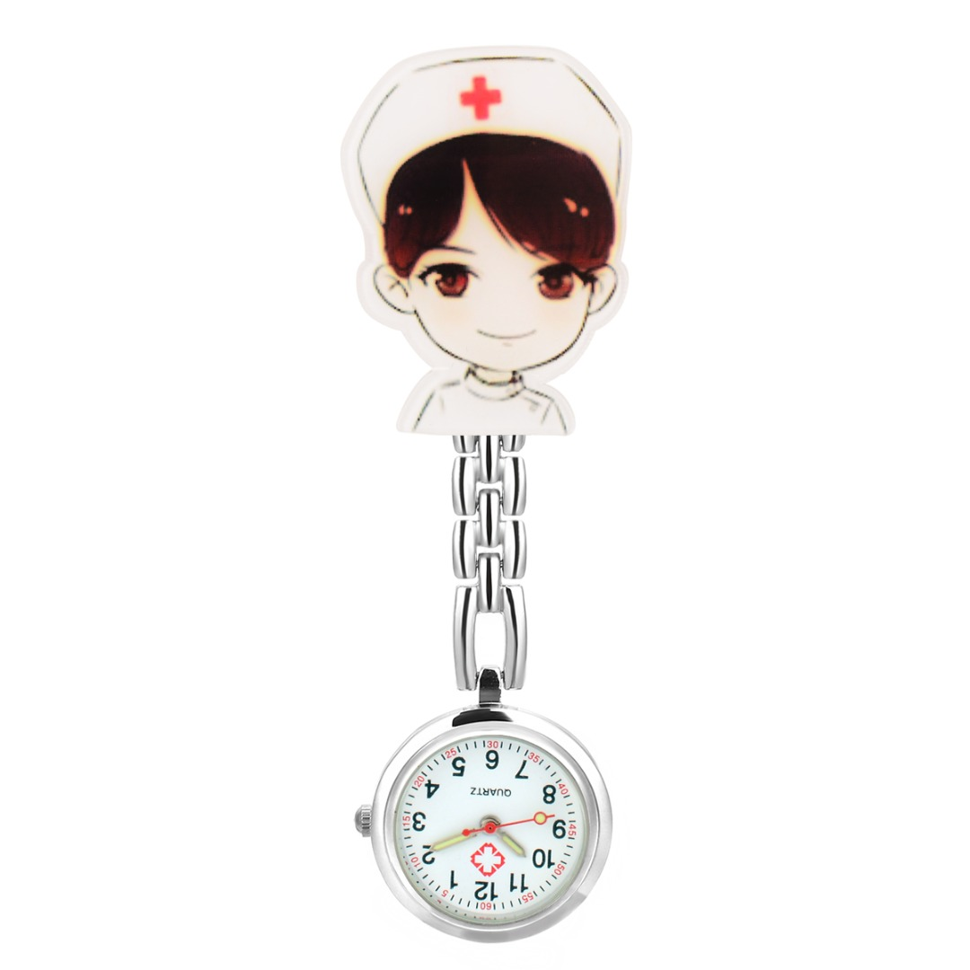 Shellhard 6 Styles Cute Cartoon Nurse Watch Fashion beautiful Girl Pattern Luminous Pin Quartz Pocket Brooch Fob Nurse Watch
