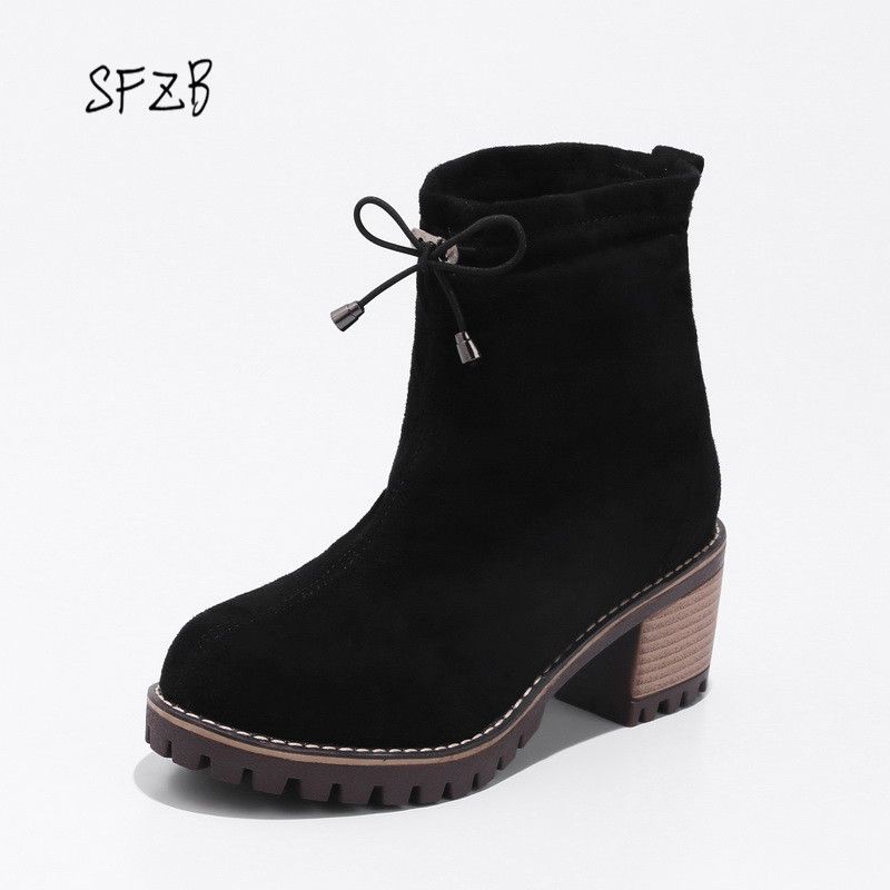 SFZB Women Ankle Boots Design Fashion Square High Heel Round Toe All Match Ladies Motorcycle Boots Size 34-43