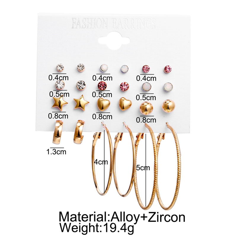 12 pairs a lot Trendy Star Heart Round Loop Stud Earrings for Women Fashion Small Earring Gold Metal brincos female Jewelry 2019 in Stud Earrings from Jewelry Accessories