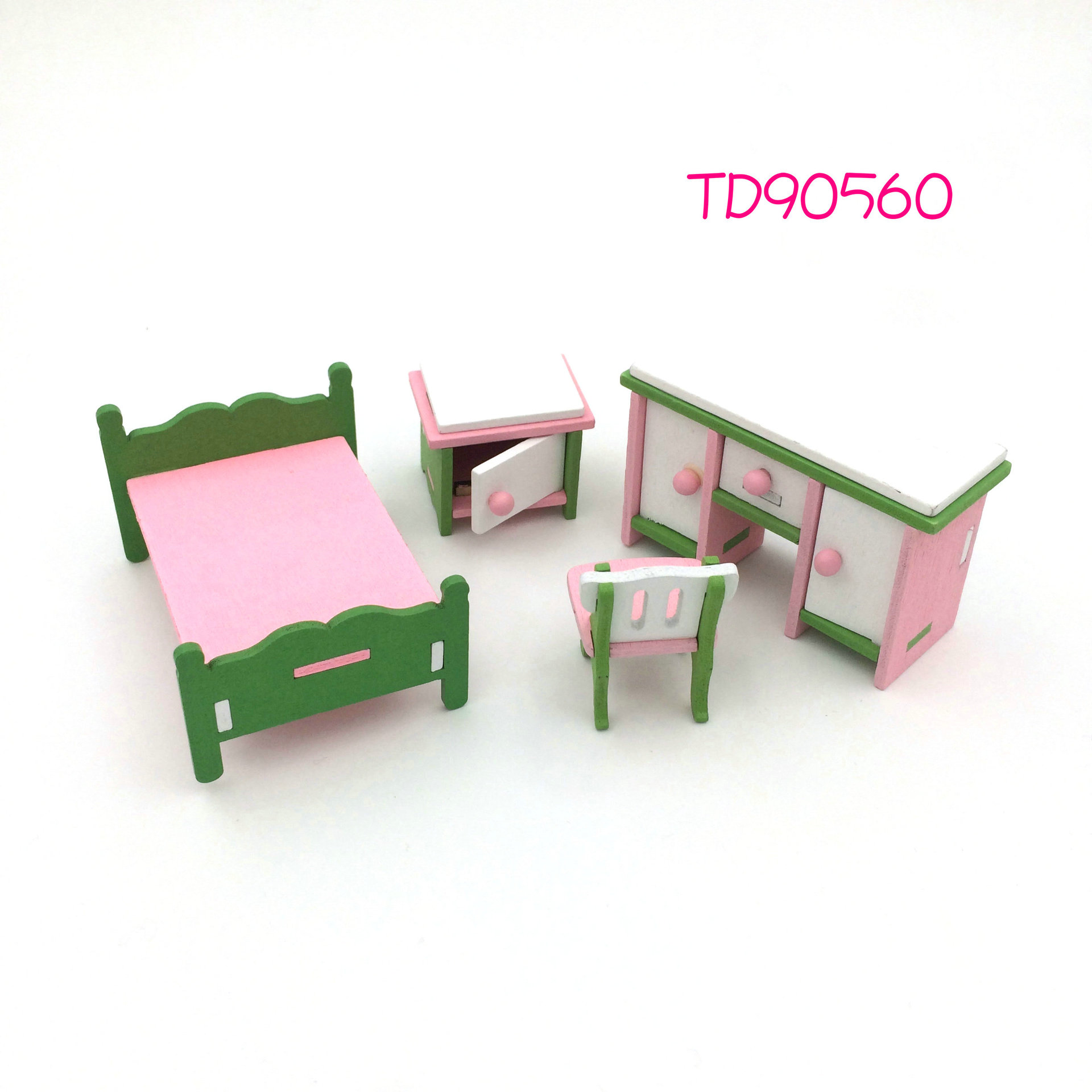 Kids lay Toy Wooded Mini Furniture Set Miniature Dollhouse Simulation Chairs Bed Toilet Boy and Girl Playing House Game Toy
