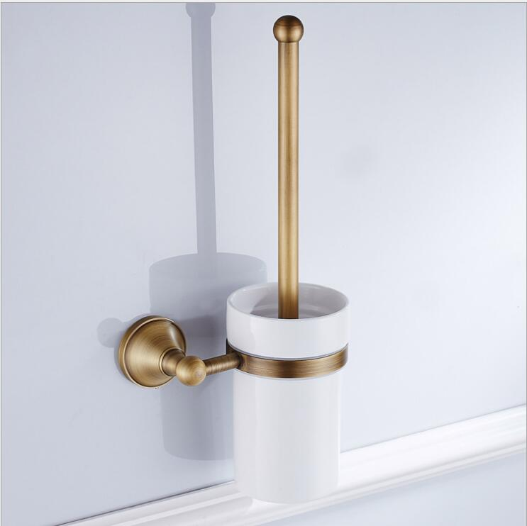 Wall Mounted Bathroom Accessories Brass Toilet Brush Holder,Antique Brass Bathroom Products Toilet Brush Free Shipping solid brass antique brass bathroom toilet paper holder with brush bathroom accessories wall mounted