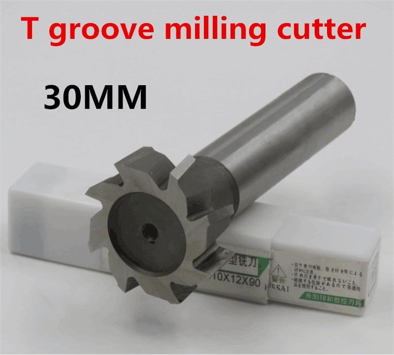 2PCS 30*3*4*5*6*8*10*12 High Speed Steel Straight Shank T Groove Milling Cutter T Type Straight Shank Milling Cutter