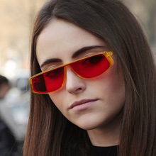 XIWANG Vintage Women Sunglasses Luxury Brand Designer  Sun Glasses Female One Piece Red Flat Top New Fashion Cool Sexy Shades