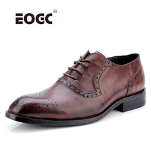 Genuine Cow Leather Men Shoes Brogue Wedding Business Flats Vintage Oxford