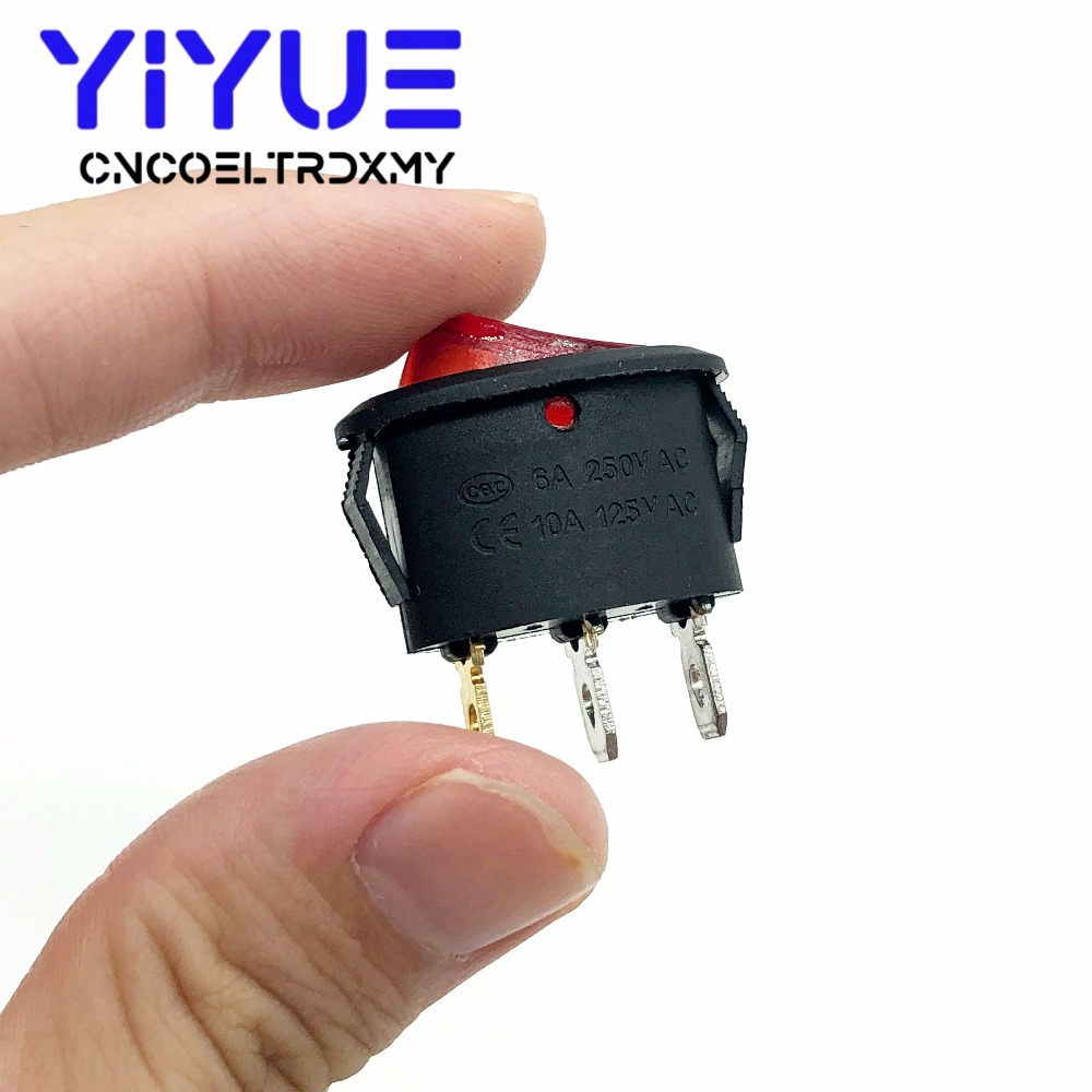 5Pcs Rocker Switch Ellipse Red With lamp KCD1 3Pin two position Seesaw Power switch  6A250VAC 10A125VAC (3)