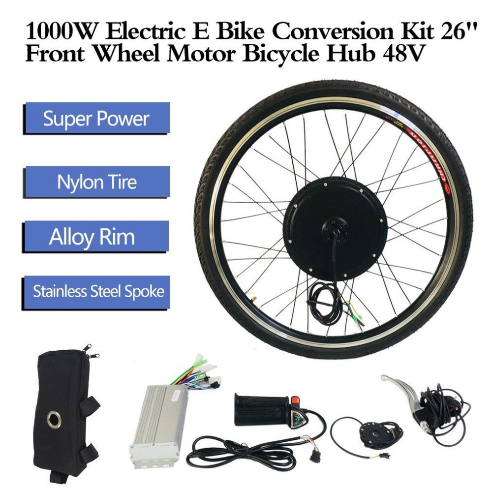 1000W 26 Front Wheel Motor Bicycle Hub Electric E Bike Conversion Kit 48V Aluminum Alloy Tool Kit Crank Speed Sensor
