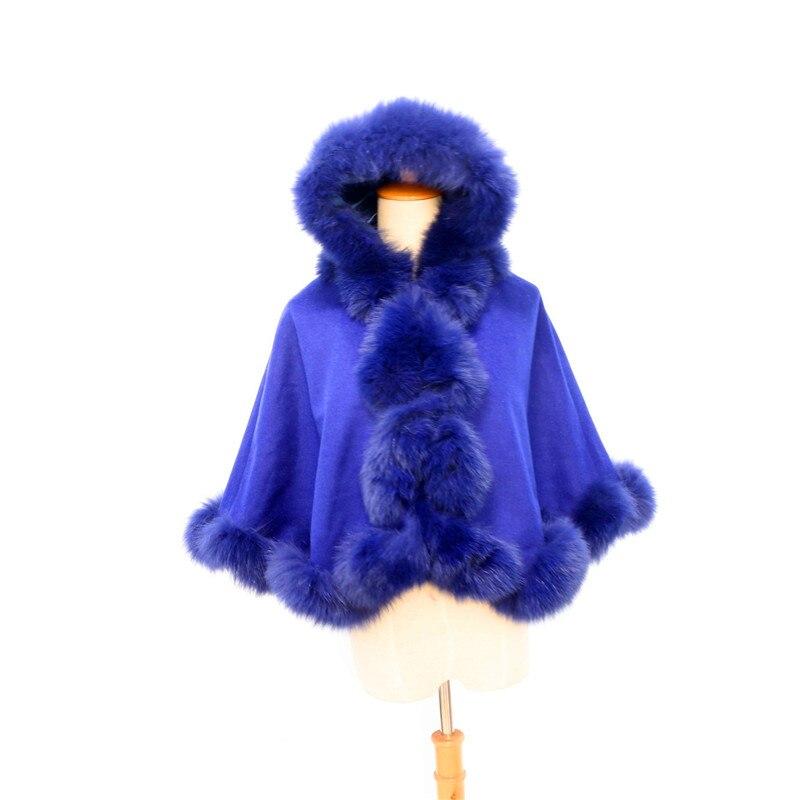 Livraison gratuite enfant (age3-5) longueur 40cm torsadé fourrure avec capuche cachemire cape - 2