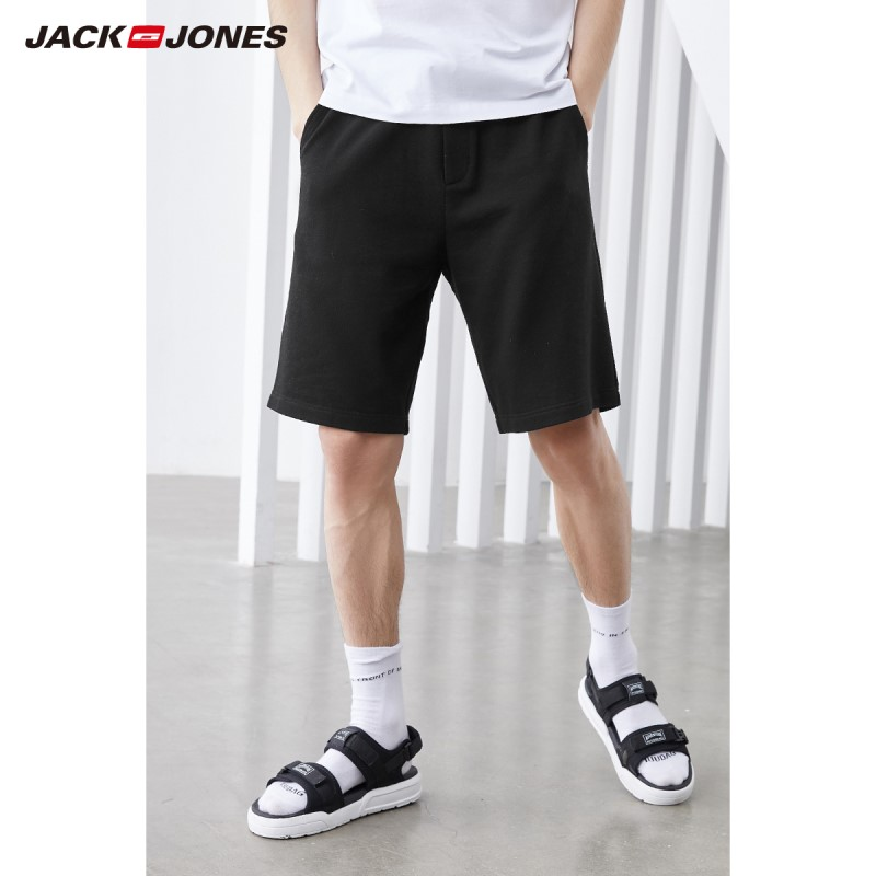 JackJones Men's Embroidered Waist Drawstring Loose Fit Cotton Shorts|219115505