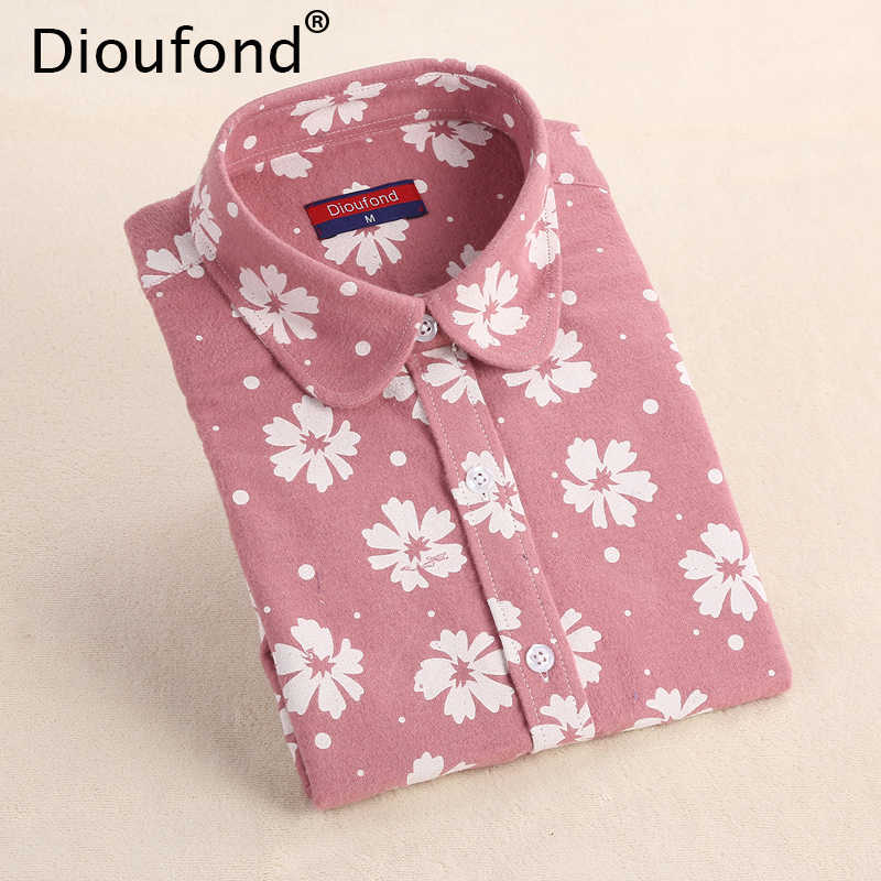 Dioufond Winter Floral Print Flannel Long Sleeve Blouse Warm Shirts Women Casual Autumn Tops Blusas 2017 Plus Size S-5XL