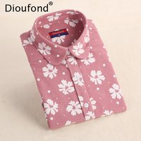 Dioufond Winter Floral Print Flannel Long Sleeve Blouse Warm Shirts Women Casual Autumn Tops Blusas 2017