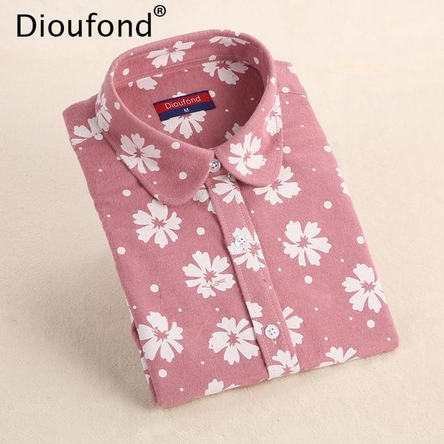 Dioufond зима Цветочный принт фланель Блузка с длинными рукавами теплые рубашки Для женщин Повседневное Осень Топы Blusas 2017 плюс Размеры S-5XL