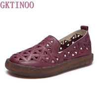 GKTINOO 2018 New Women Loafers Lady Flat Shoes Woman Summer Flats Hollow Out Comfortable Soft Outsole Genuine Leather Moccasins