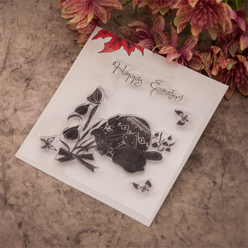 Happy easter for diy Clear Silicone Rubber Stamp for DIY scrapbooking photo album Decorative craft for Christmas gift EE-230 angel and trees clear stamp variety of styles clear stamp for diy scrapbooking photo album wedding gift cl 163