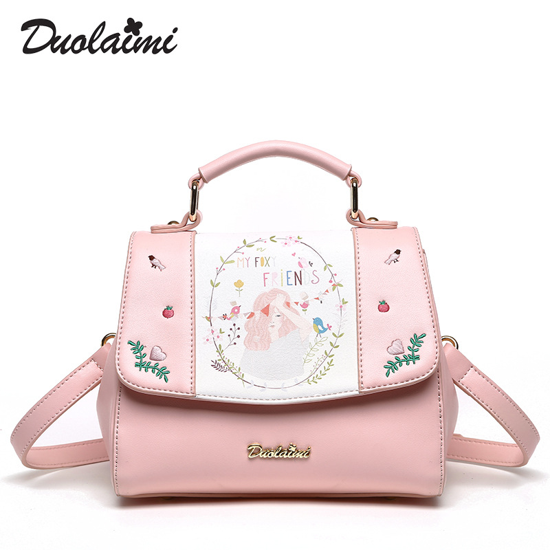 DuoLaiMi 2017 New Arrival Bird Girl Flower Floral Embroidery Lady PU Flap Pocket Women Shoulder Messenger Bag Crossbody Saddle