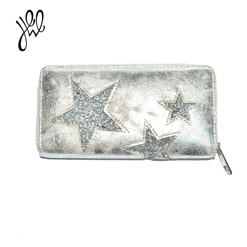 Fashion Wallets And Purses New Elegant Clutch Wallet Bling Star Lady Wallet PU Leather Factory Sale Purse Card Holder 500744 2017 new women wallets cute cartoon bear lady purse pu leather clutch wallet card holder fashion handbags drop shipping j442