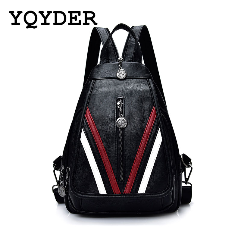 2017 Women Backpacks Casual Soft Leather Multifunction Zipper School Bags For Teenager Girls Female Travel Bag Mochila Sac A Dos цена