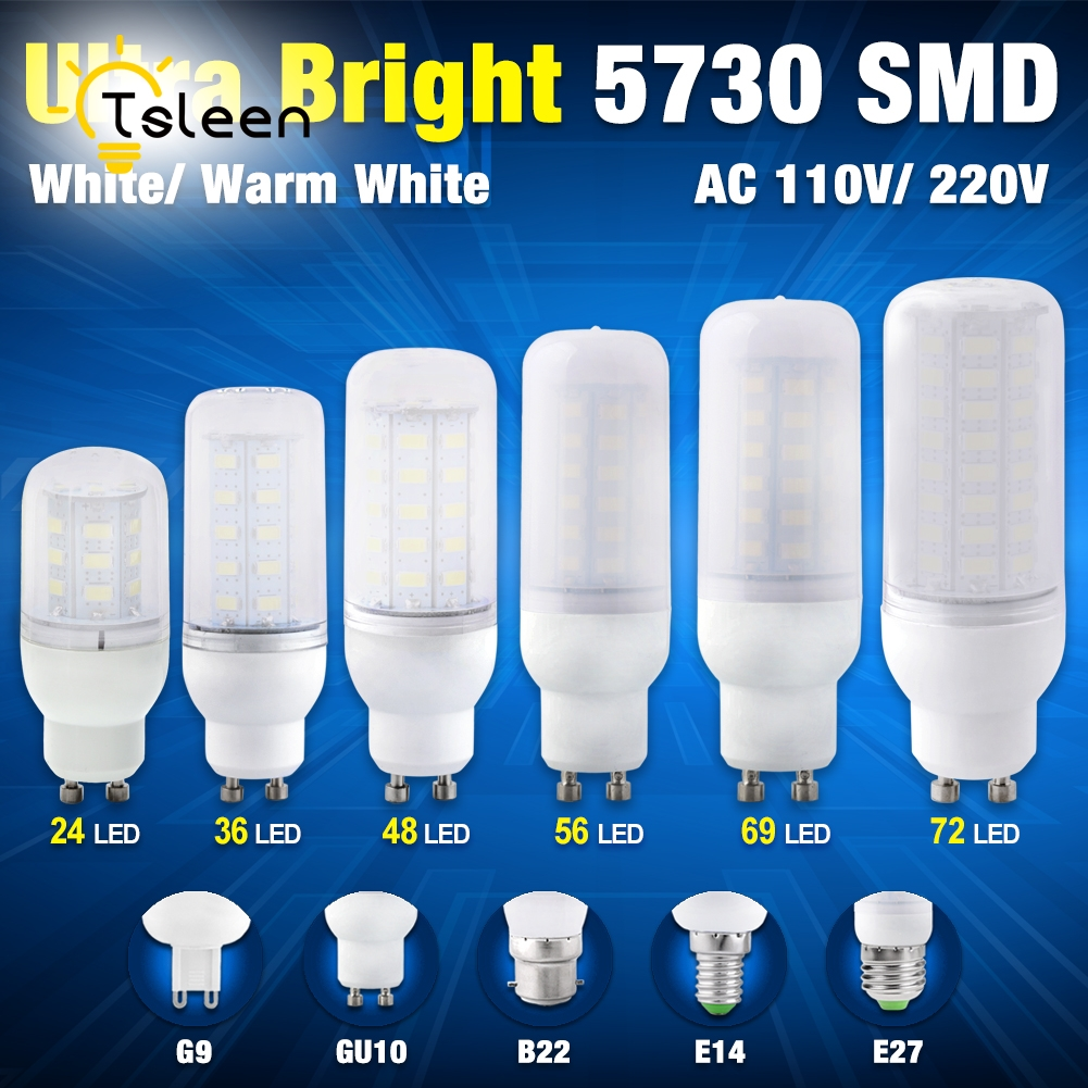TSLEEN 110V 220V LED Bulb Lamp G9 15W 7W 9W 20W 25W led corn bulb E27 GU10 E14 B22 Ultra Bright 5730 SMD Cold White Warm White high luminous lampada 4300 lm 50w e40 led bulb light 165 leds 5730 smd corn lamp ac110 220v warm white cold white free shipping