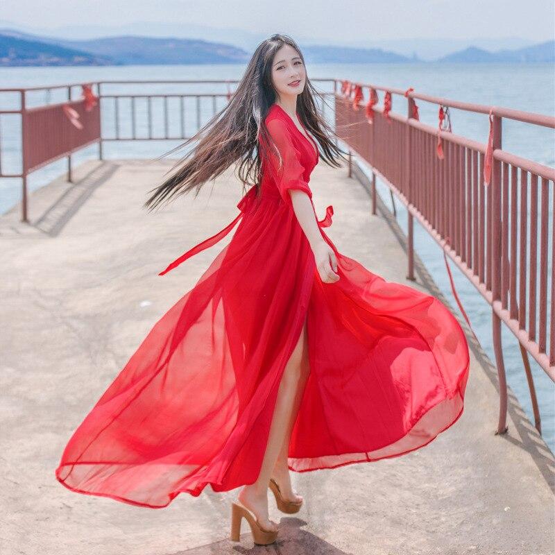 a65f95bf307 Élégant Vintage Longue rouge Mousseline Soirée Party Beach Pu Night Ciel  Maxi Club Robe 2018 De En Bandage Boho Wear ...