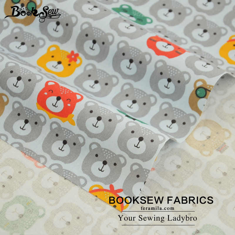 서적 회색 100% 목화 능 직물 패브릭 테 디 베어 패턴 홈 섬유 퀼트 천으로 침대 시트 아기 diy 패치 워크 인형
