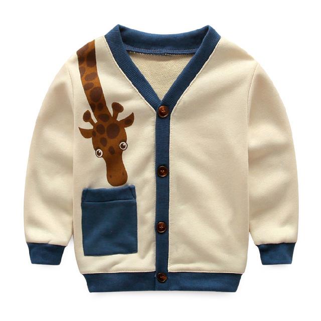 Girafa Dos Desenhos Animados Dos Meninos Cardigan Sweater 2016 Primavera Outono Moda Infantil Algodão Manga Comprida T shirt Do Esporte Tops Meninos Jaqueta