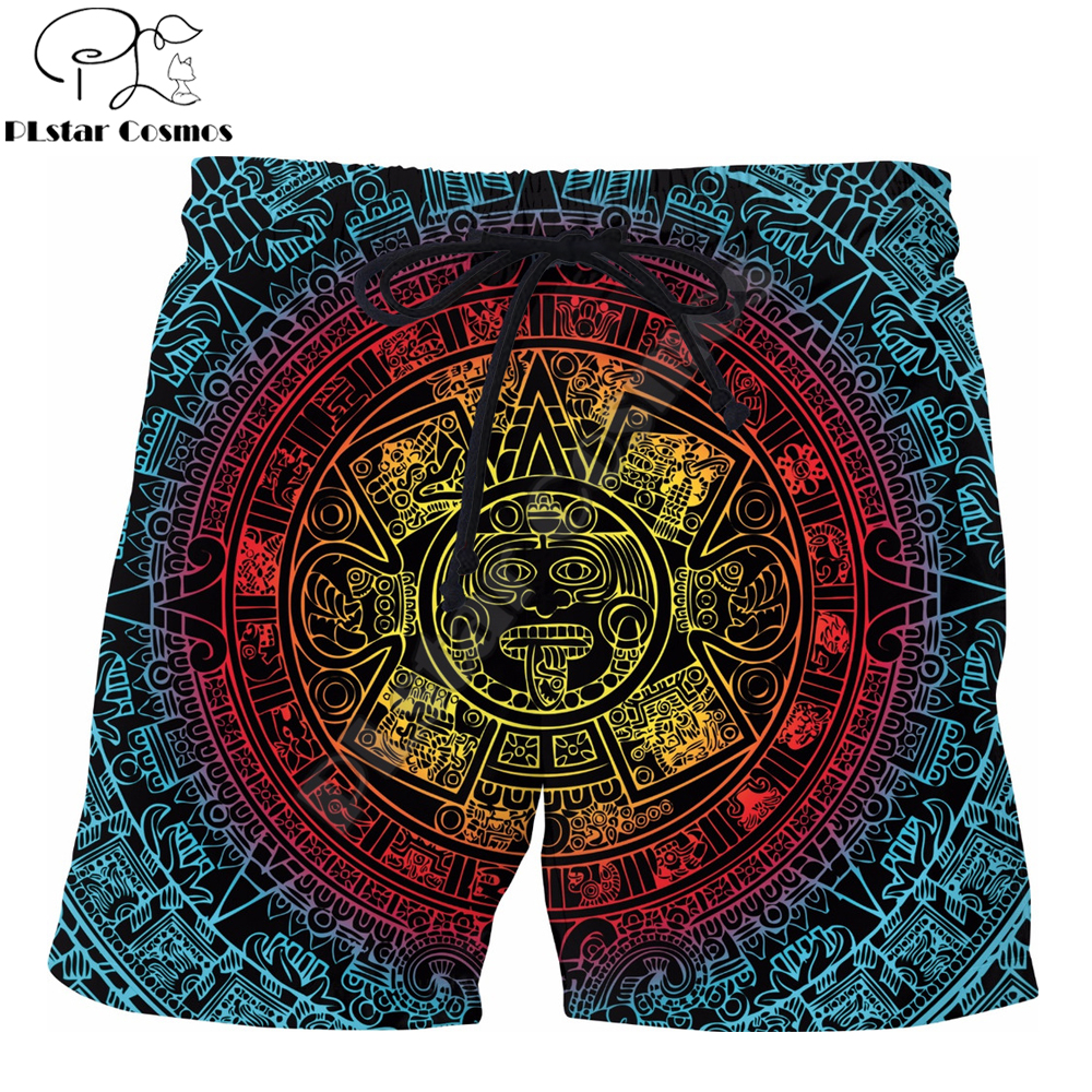 PLstar Cosmos Brand Clothing 2019 Summer Harajuku Men Casual Shorts Mayan Totem 3D Printed Male/Female Novelty Cool Shorts