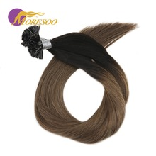 Moresoo Keratin Human Fusion Nail U-tip Ombre Coloe Remy Pre-bonded 1g/s 50 Strands