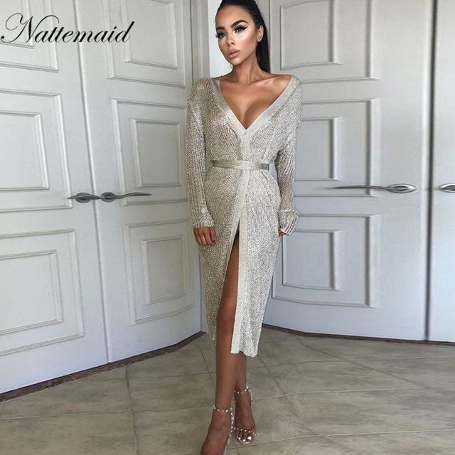 NATTEMAID Autumn Stretchable Midi Sexy Dress Women Hollow Out Casual Club Dresses Elegant Party Evening Knitted Dress Vestidos